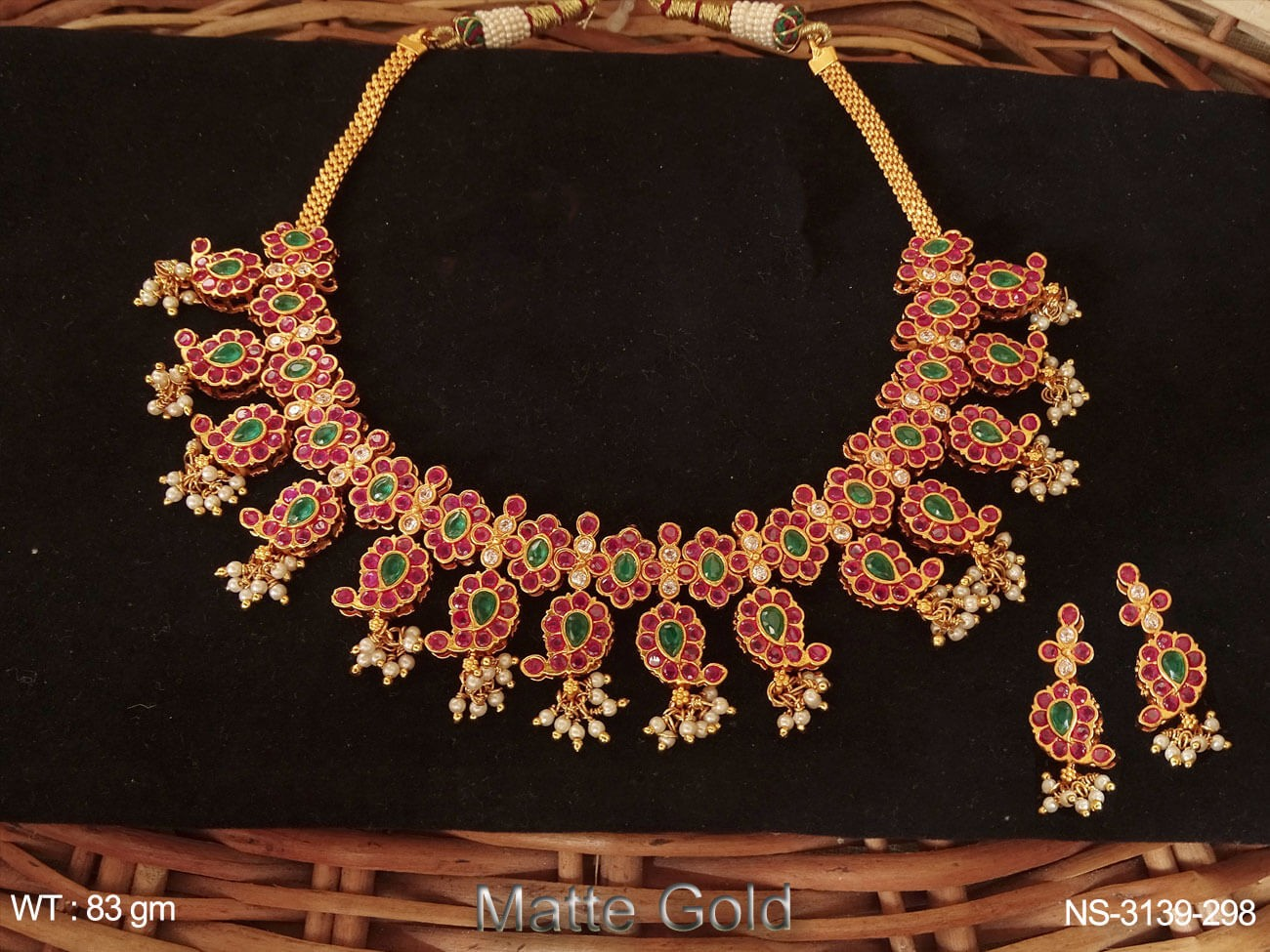 Flower Style Paan Shape Necklace
