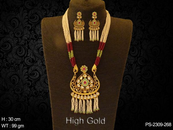 Neon green ruby meena antique design pendant set