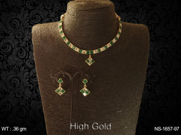 square beaded bridal ad necklace set