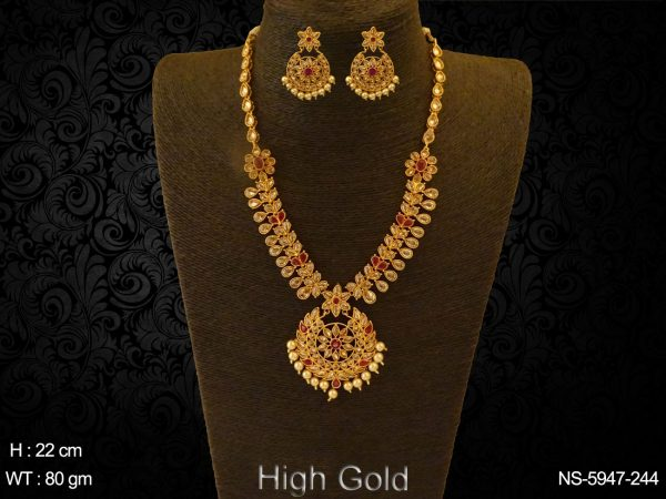 AD lct ruby goldenfexible necklace set for wedding festival