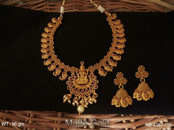 Laxmi Ji Style Clustured Temple Necklace