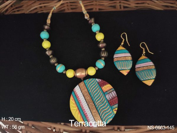 Textured Terracotta Necklace & Earring Set.