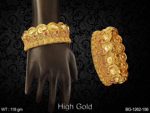 Sided Paan Shape Broad Antique Bangles
