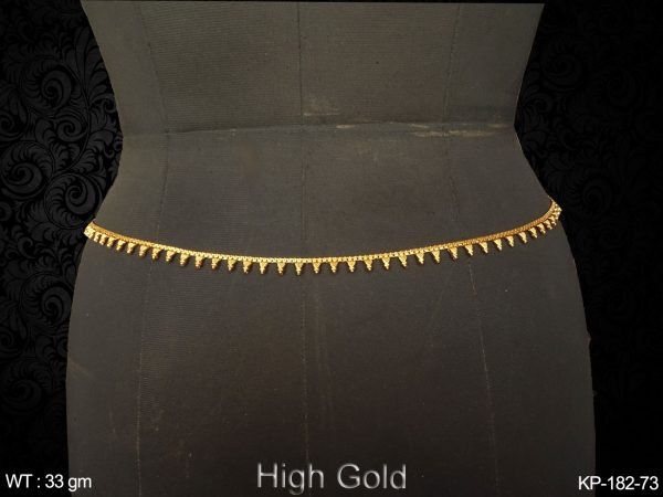 Fancy gold finish belly chain trangle design antique kamarpatta