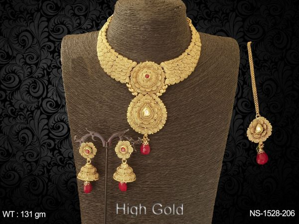 spiral flower chand paan antique necklace set