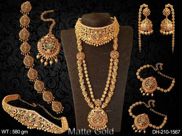 Artificial design rani full stone south style kemp dulhan set