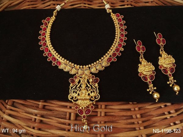 Oval Stone Laxmi Ji Temple Necklace Set