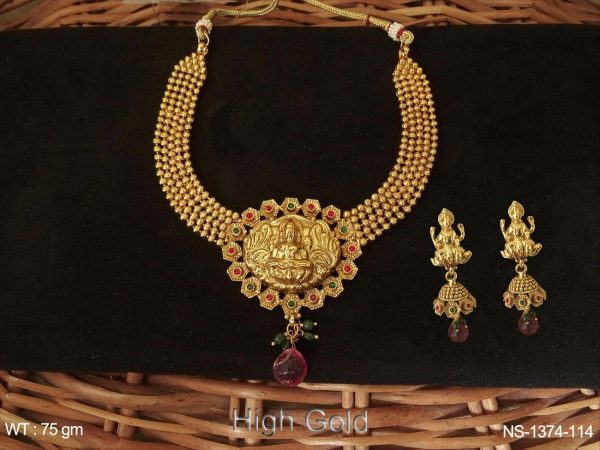 Kamala Laxmi Ji Oval Based Temple Necklace Set