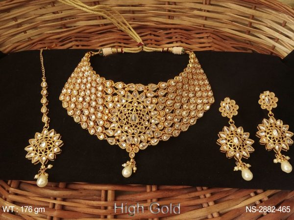 Sided Paan Multi Layered Polki Necklace