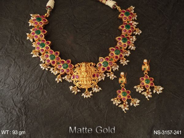 Laxmi Ji Style Flowery Temple Necklace Set