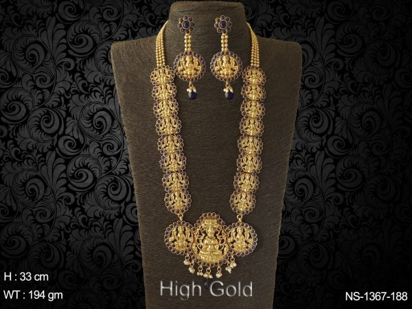 tri laxmi ji pendant kemp temple necklace set