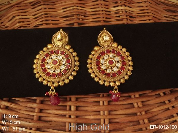 square beads paan hooked antique earrings