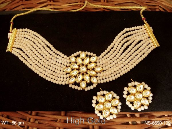 Kundan Stone Pearl Gold Necklace