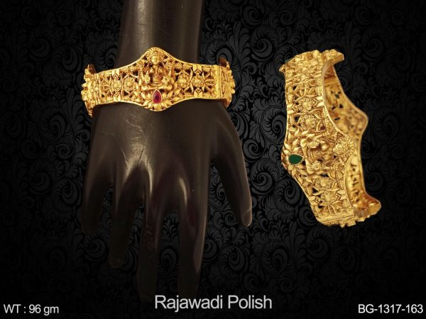 Temple Textured Flowery South Bangles