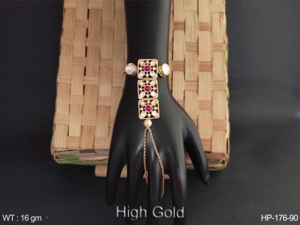 Square shape fill stone high gold AD Haath Paan