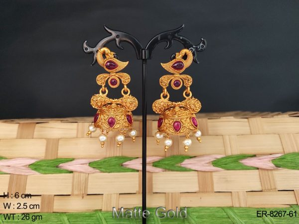 peacock shape jhumka kemp earring set