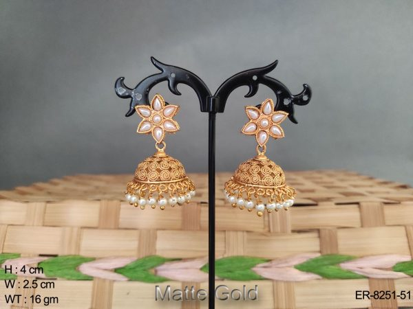 matte gold flower shape kemp jhumka earring