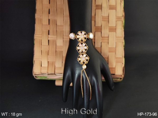 haath paan with kundan stones and high gold polished