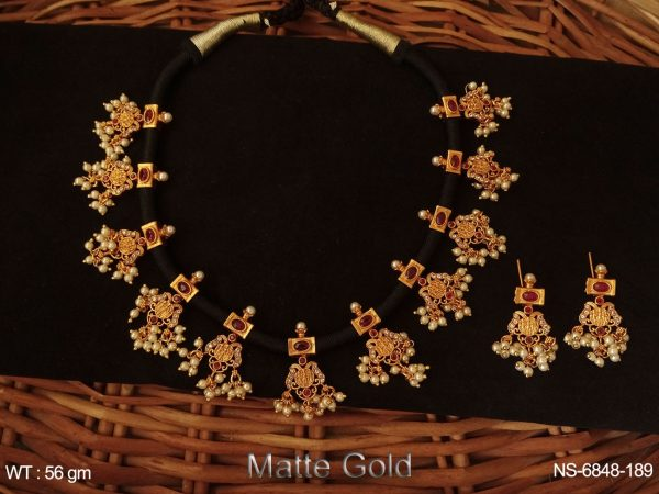 black dori Temple Necklace with matte gold polished