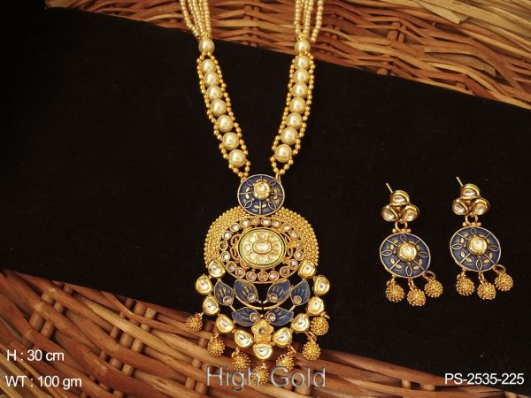 High Gold Polished Beaded Mala With Paan Shaped Pendant Set