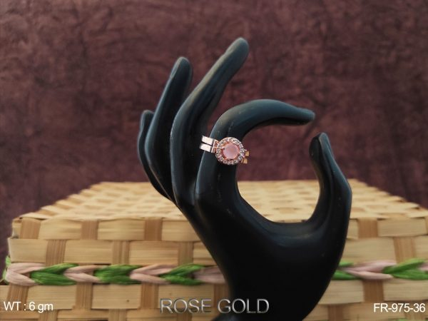 One Stone Studded Rose Gold AD Finger Ring