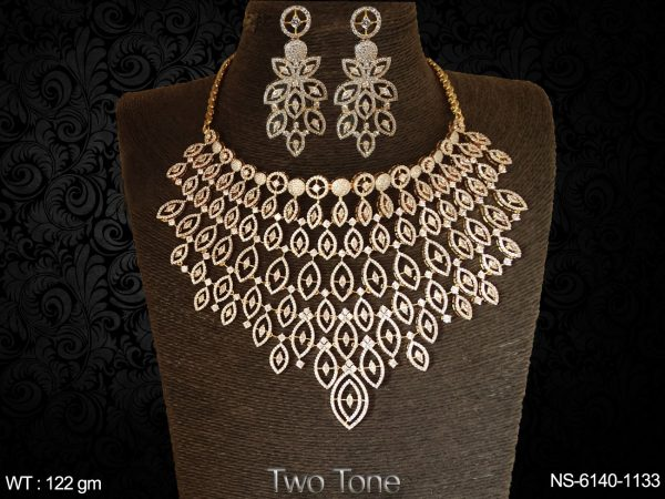 White stone two tone party wear AD Necklace