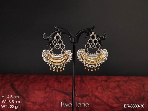 Oxidized Silver Two Tone Antique Chand Bali Earring