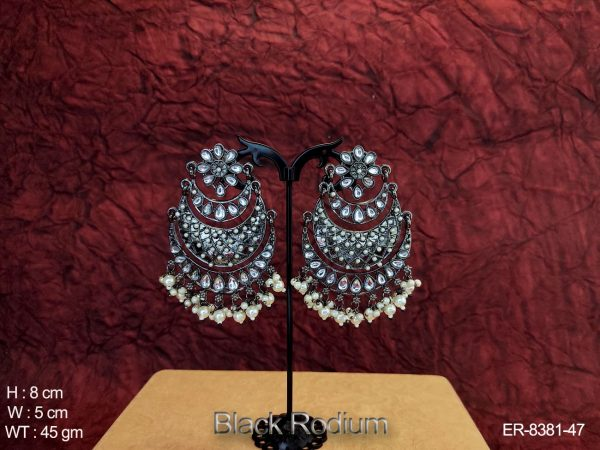 Clustered pearl Chand Bali Desgner Black Rodium Earring
