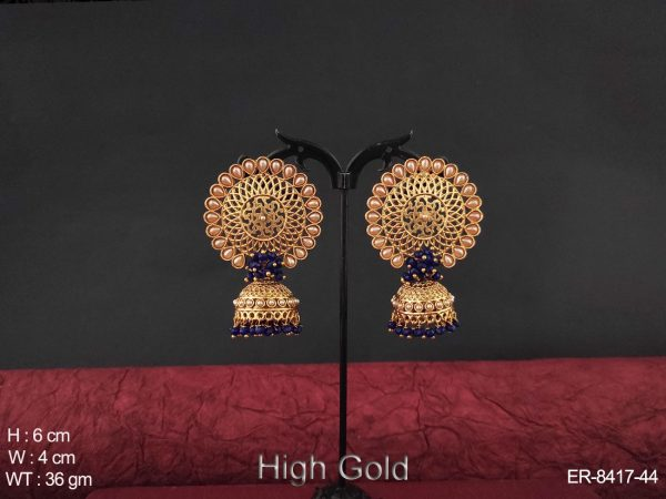 Clustered pearl antique jhumka.