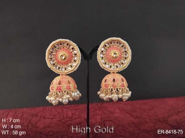 Clustered pearl Meena colouring Antique Jhumka Earring