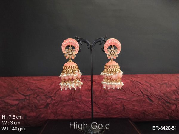 Clustered pearl Meena colouring High Gold Poilsh Antique Jhumka Earring