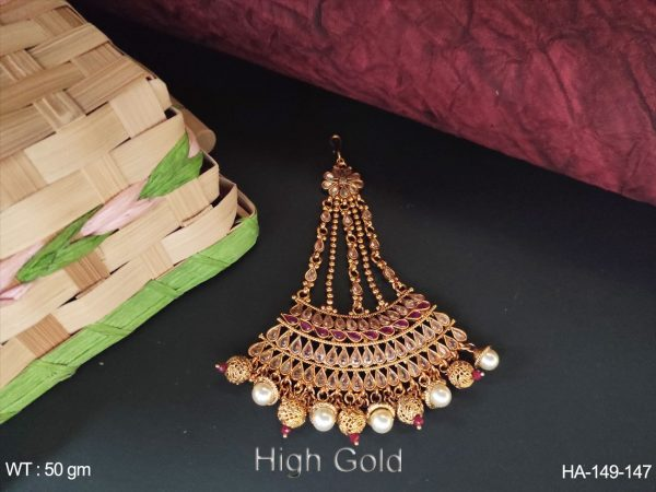 Full Paan Stone Polki Antique High Gold Polish Haier Accessories
