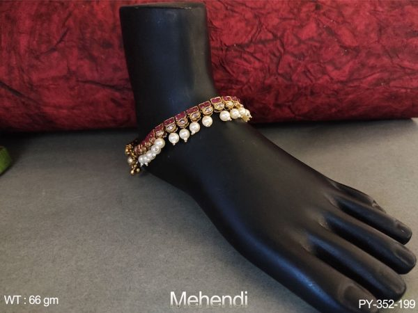 Clustered pearl Polki Full Stone Mehendi Polish Payal