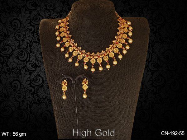 Traditional High Gold Polished Coin Necklace Set