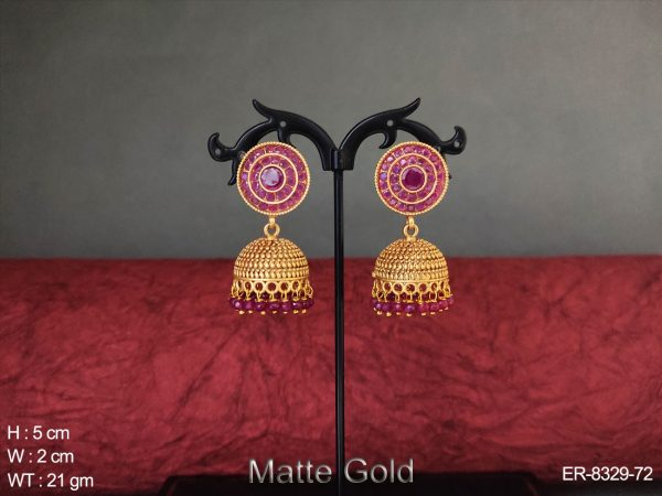Medium Jhumka Matte Gold Polished Kemp Earring