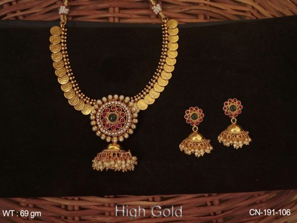 Temple Coin Jhumka Desgner Coin Necklace Set