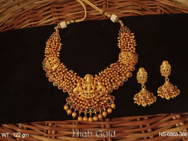High Gold Polished Laxmi Elephant Temple Necklace Set with Clustered Pearls