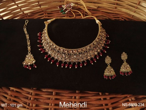 Choker Heavy Desgner Paan Stone Polki Necklace Set