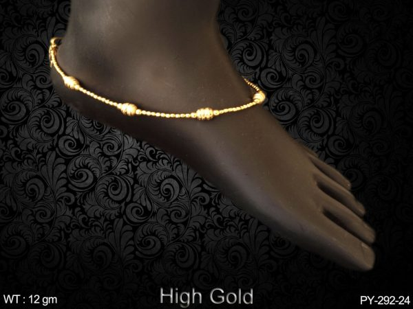 One line high gold delicate antique payal