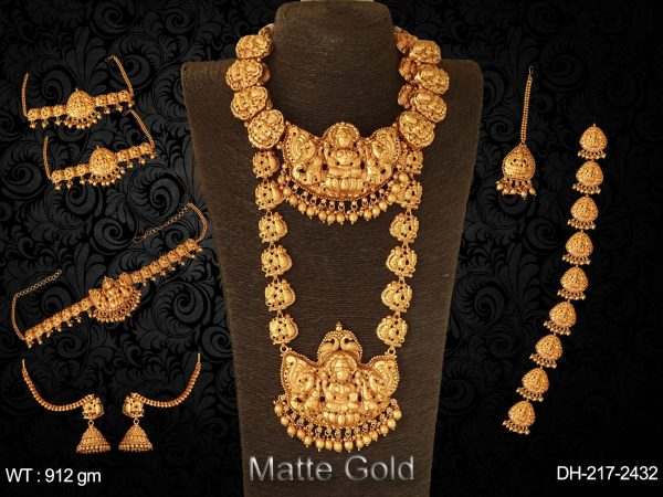 South Indian Heavy Style Traditional Matte Gold Bridal Set with Laxmi Goddess