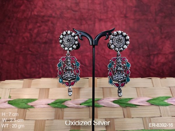 Oxidized Silver Desgner Temple Earring