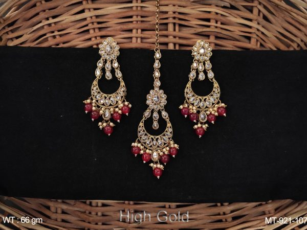 Antique Designer High gold Polish Full Stones with Clustered Pearl Beautiful Maang Tikka with Chand Bali Earrings