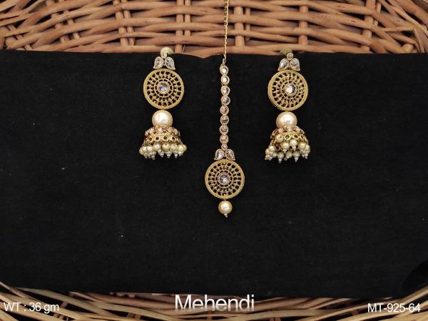 Antique Mehendi Polish Designer Party wear Fashion Maang Tikka with Earrings