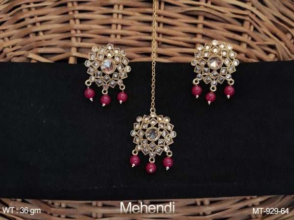 Antique Full Stone Mehendi Polish Party wear Maang Tikka with Earrings