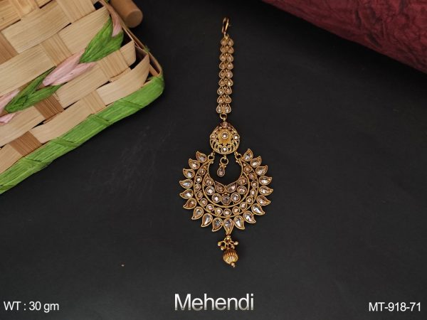 Antique Designer Mehendi Gold Polish Full Stone Maang tikka