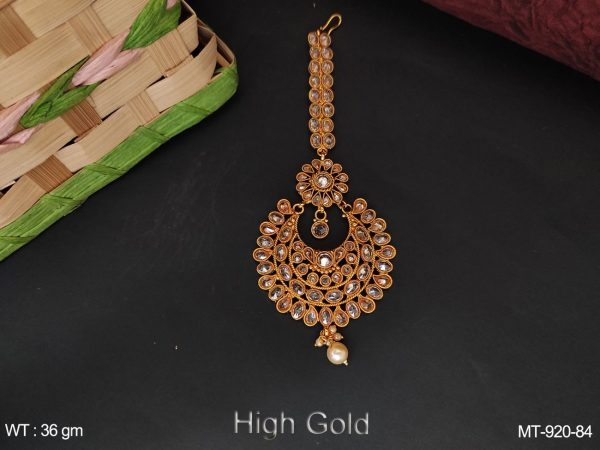 Antique Designer Full Stone High Gold Polish Beautiful Maang Tikka