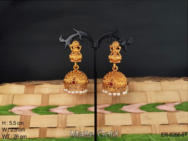 laxmi figure gold polished kemp earring