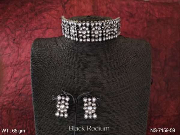 Designer Kundan Black Rodium Choker Style Full Stone Party wear Necklace Set