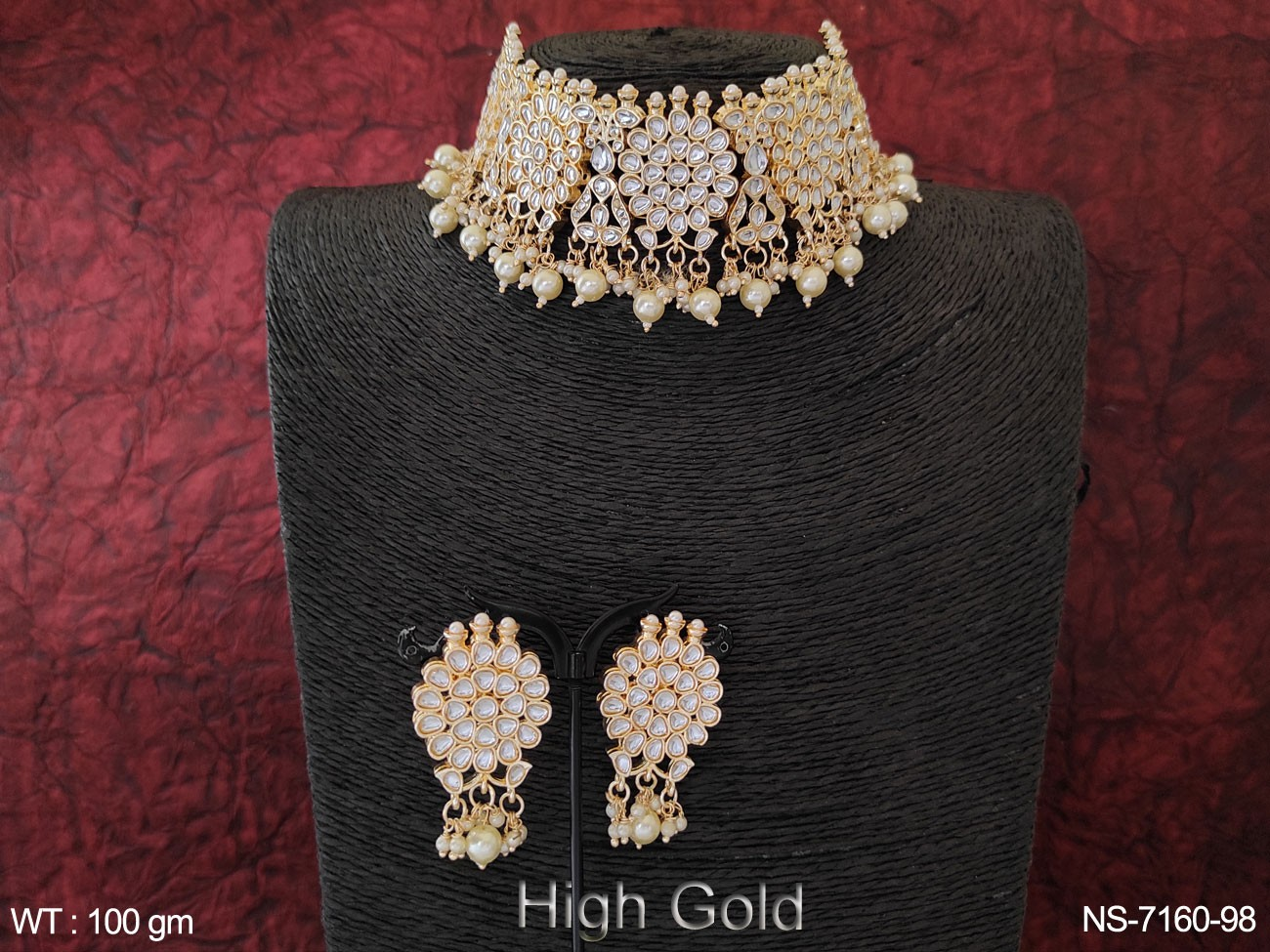 Beautiful Designer Full Stone High Gold choker Style Clustered Pearl Party wear Necklace Set