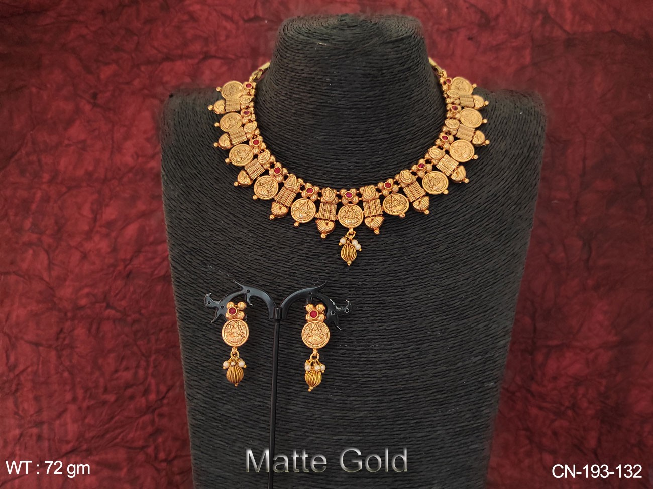 Designer Matte Gold Polish Temple Coin Necklace Set